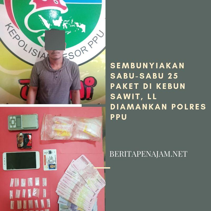 Sembunyikan Sabu-sabu 25 paket di Kebun Sawit, LL diamankan Polres PPU